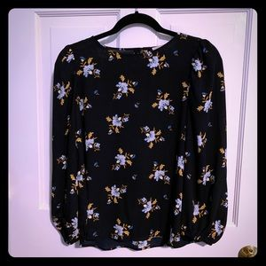 Loft Navy blue floral blouse